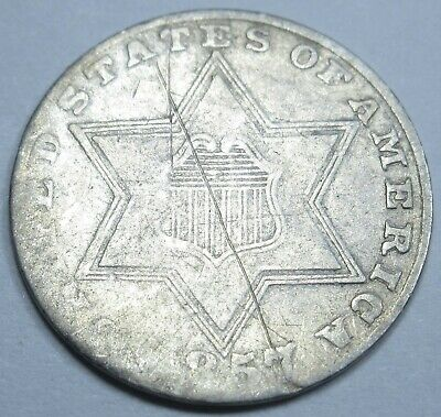 1857 US Three Cent Piece 3 Penny Silver Antique Currency Old Money Coin