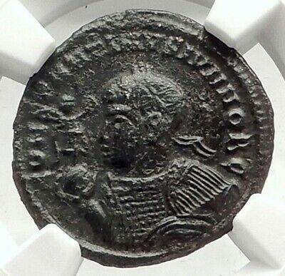 CONSTANTINE II Junior Authentic Ancient 320AD Roman Coin w CAPTIVES NGC i76300