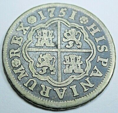 1751 Spanish Silver 1 Reales Piece of 8 Real Old Colonial Pirate Treasure Coin