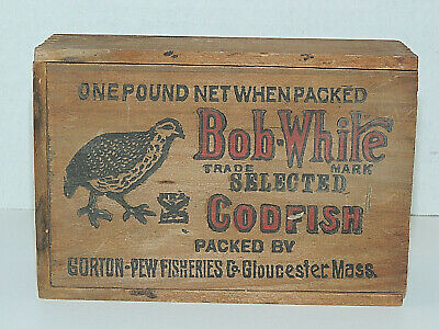 Vintage BOB WHITE Selected CODFISH Wooden Dovetailed 1 Pound Box, Ex. Litho