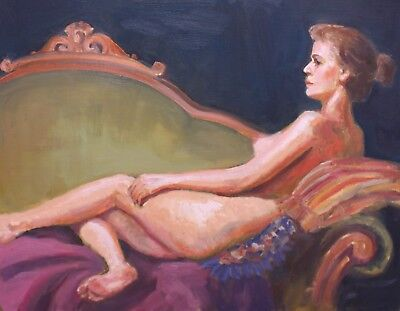 REDUCED Original Oil Painting Nude Portrait from Life Figurative Woman 14 x18
