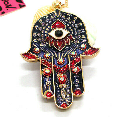Hot  Magic Ancient Egypt Eyes Palm Rhinestone Pendant Betsey Johnson Necklace