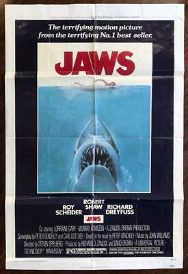 Jaws 1975 Original One Sheet Horror Movie Poster 27×41 Steven Spielberg