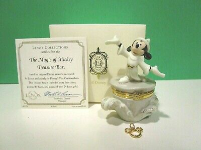 LENOX THE MAGIC OF MICKEY MOUSE TREASURE BOX NEW in BOX with COA with Gold Charm