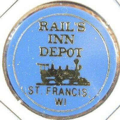 Vintage Rail's Inn Depot St. Francis, WI Blue Plastic Trade Token - Wisconsin