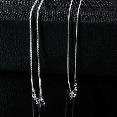 "1MM/2MM 16""18""20""22""24"" Inch Silver Snake/Rolo Chain Plated Necklace Jewelry Ca"