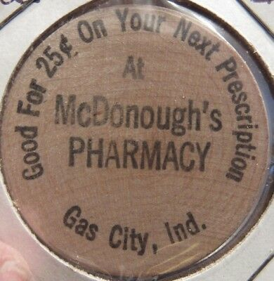 Vintage McDonough's Pharmacy Gas City, IN Wooden Nickel - Token Indiana Indian