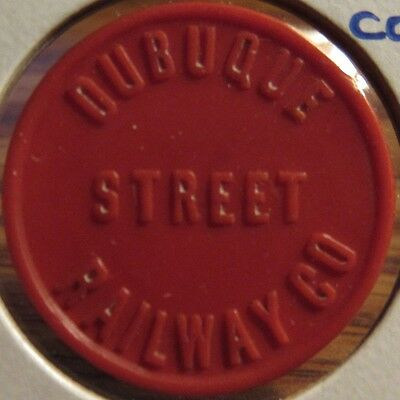 Very Old Dubuque, IA Street Railway Co. Red Celluloid Transit Trolley Token Iowa