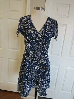 d970bf0c3cb97e NWT J. Crew Factory Women s Navy Floral Printed Faux-Wrap Lined Dress Size 6