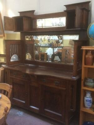 Antique Huge Arts & Crafts Nouveau  Fretwork Wooden Oak Mirror Sideboard Buffet