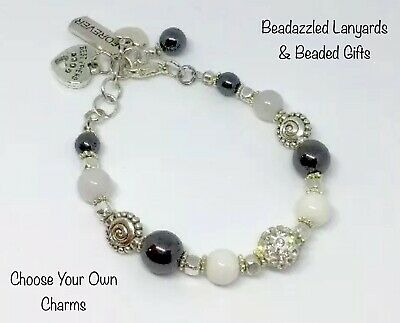 Gemstone Charm Bracelet,In Memory Of Gift,Personalised, Add Your Own Charms B7