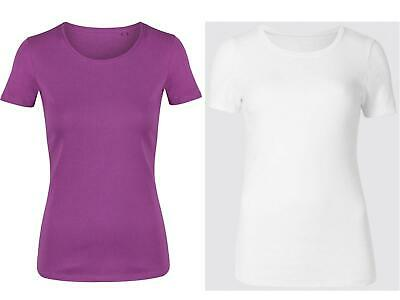 Womens Ladies EX M&S Pure Cotton Short Sleeve Crew Neck T-Shirt  size 8-24