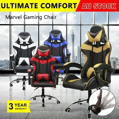 Computer Gaming Chairs Office Racing Seating PU Leather Racer Executive Footrest