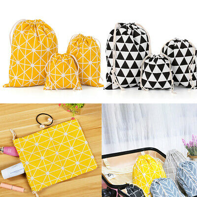 3pcs/Set Drawstring Bag Animal Printed Linen Storage Cotton Canvas Travel Bags