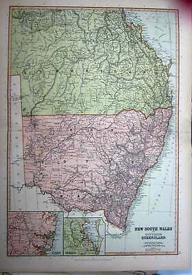 Old Antique Print C1910 Map Australia New South Wales Queensland Sydney 20th