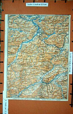 Old Vintage Print Map 1927 Tyrol Imst Ober Fussen Silz Haiming Mountains 20th