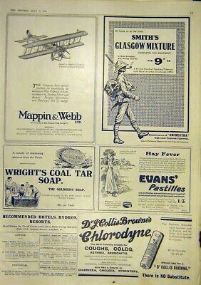 Original Old Vintage Print Advert Mappin Webb Biplane Model Smith'S Glascow 1917