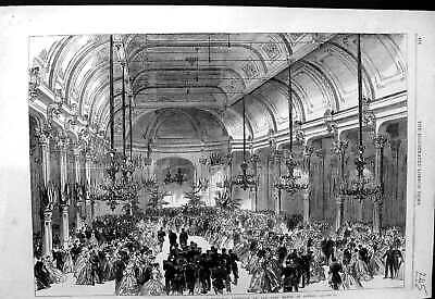 Old Antique Print 1866 Ball English Volunteers Brussels Lord Mayor London 19th