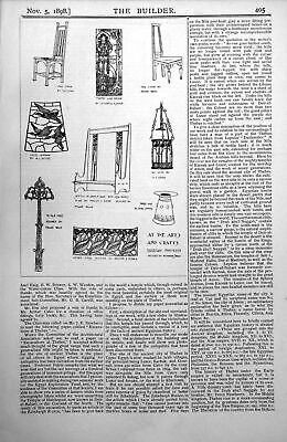 Antique Old Print Arts Crafts Exhibition Manchester Glass Screens Chairs 1898