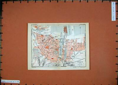 Old Vintage Print 1933 Street Plan Cherbourg Colour Map France Gare Port 20th