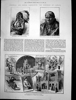Antique Old Print Ice Palace Winter Sport Canada Crow Eagle Sioux Chief 1886