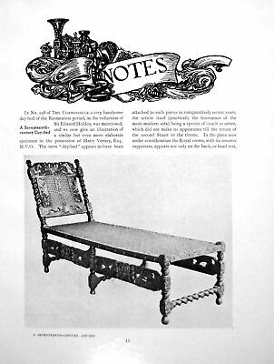 Antique Old Print Notes A 17Th Century Day Bed An Early FirearmPage 1919