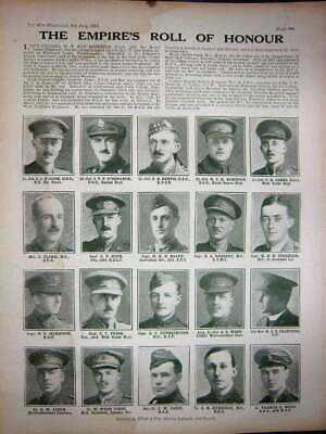 Old Vintage Print 1918 Ww1 Heroes Cook Robinson Cuthbertson Pease Janes 20th
