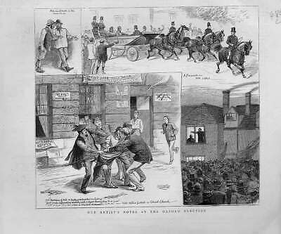 Original Old Antique Print Notes An Oxford Election 1880 19th Century