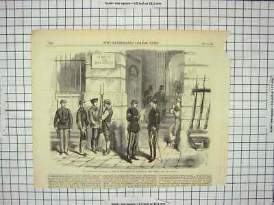 Old Antique Print 1868 Revolution Spain Volunteers Liberty Puerta Madrid 19th