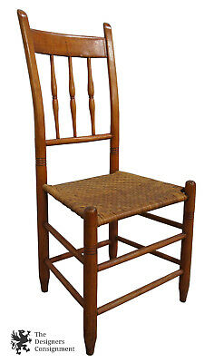 Early 20th Century Shaker Style Antique Maple Spindle Back Chair Rush Woven Seat