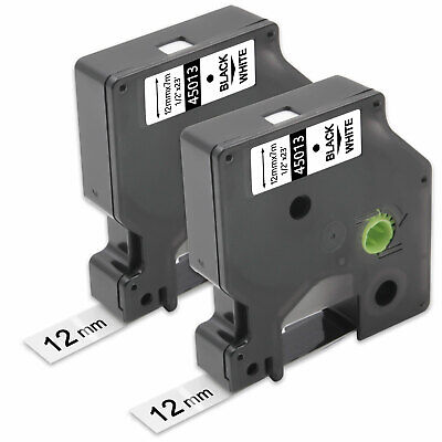 2PK Compatible for DYMO D1 45013 Black on White 12mm 0.47 In Label Tape LM450