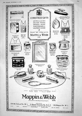 Antique Old Print 1918 Mappin Webb Christmas Gifts Jewellery Leather Silver