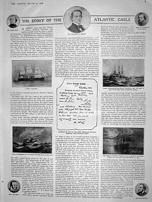 Original Old Antique Print 1908 Atlantic Cable Bright Pender Ship Pasha Salanfe