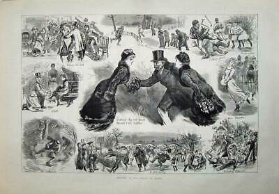 Antique Old Print 1886 Ice Skating Winter Canada Children People Fine Art 19th