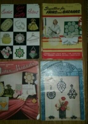 4 VINTAGE 1950s CROCHET BOOKS ~ GIFTS ~ FAIRS BAZAARS ~ WROUGHT IRON CROCHET