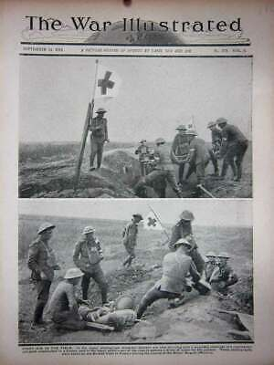 Old Vintage Print Ww1 1918 First-Aid Battlefield Stretcher Bearers Trench