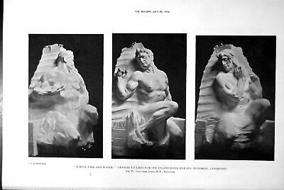 Antique Old Print Earth Fire Water Heroes Liverpool Calton Hill Monument 1918