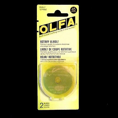 OLFA 45mm BLADES ~ 2 Pack ~ Replacement blades for ROTARY CUTTER (#RB45-2)