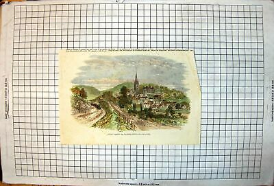 Antique Old Print Ross Hereford Gloucester Railway Passing Town Ross Colour