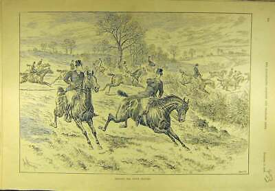 Original Old Antique Print 1894 White Feather Hunting Hunt Horses Riders 19th