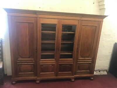 Outstanding Quality French Oak Four Door Breakfront Bookcase