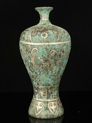 China Old Handwork painting Flower Pattern Archaized Bronze Vase