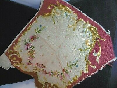 """Antique French hand worked needle point wool tapestry, 17"""" x 14"""""""