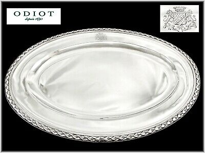ODIOT Gustave : Immense Plat ovale en Argent massif +1431gr ARMOIRIES
