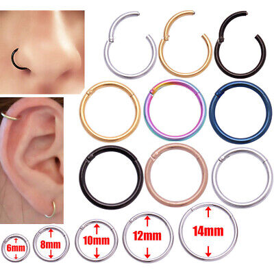 Surgical Steel Open Nose Ring Hoop Lip Ring Small Thin Piercing 6 Colour 5 Sizes