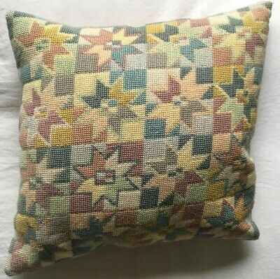 RARE VINTAGE RETRO Needlepoint EHRMAN  Design Tapestry Cushion Completed