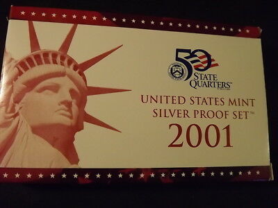 Collectible United States Coins: 2001 U.s. Mint 10-Piece Silver Proof Set W/cert