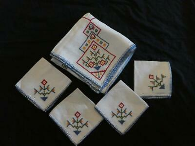 Vintage Linen Embroidered Square Table Cloth with 4 Matching Napkins