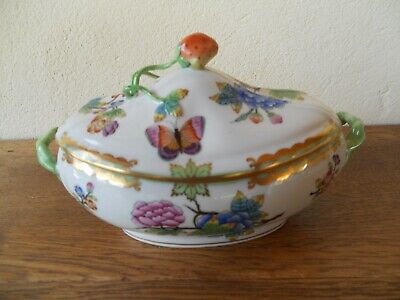 Herend Porcelain Hungary Porcelaine Hongroise Rare Fraisier Coupe A Fruits Tbe