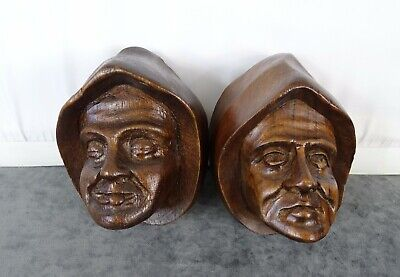 Antique French Carved Walnut Wood Pair of Heads - Two Men of the Middle Ages